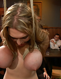 Bondage girl in the restaurant