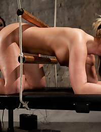 Beautiful blonde with a luscious bubble butt gets tied up, shocked, made to cum, and fisted in her tight asshole!