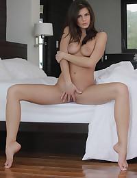 Astonishing babe lying on the bed naked.