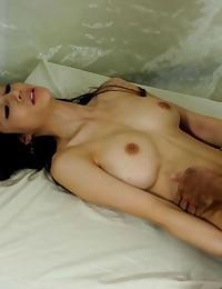 Asian hottie takes a creampie