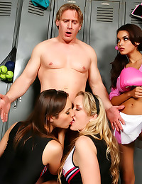 Cheerleaders play with his co...