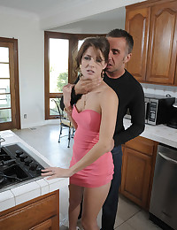 Slut in a pink dress banged