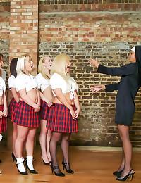 Schoolgirls stroke chubby guy