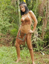 Karla Spice - Young latina with big boobs and booty poses in Native American outfit