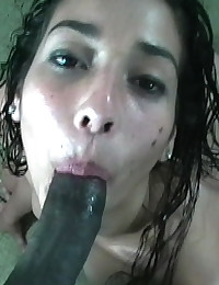 Fucked in the park, licking up cum