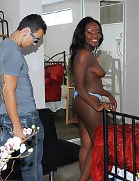 Cumshot on her black ass