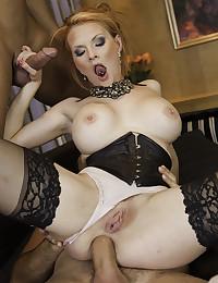 Horny Redhead Minx Enjoys Two Cocks