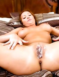 Cumshot on her pierced pussy