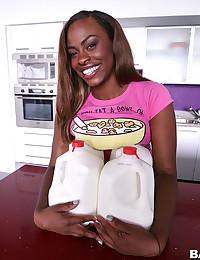 Busty Ebony Babe Gets Jizzed On