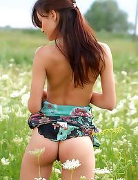 Big teen breasts solo in fiel...