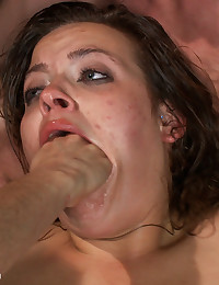 Ashlynn Leigh is dp'ed in extreme gangbang! She is taken down to the ground, stripped naked, and fucked in every hole!