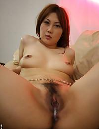 Hairy pussy Asian sucks dick