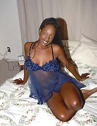 Solo ebony chick wears linger...