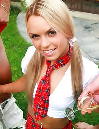 Drunk teen schoolgirl double ...