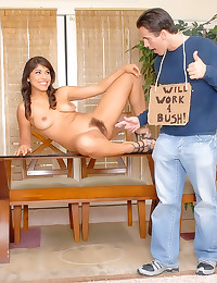 He cums on hairy slut