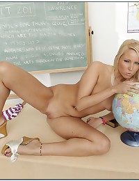 Hot blonde classroom striptease