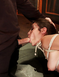 The third tie of the day leaves Amber helpless and vulnerable, ready to be used for cock sucking, strap-on fucking, and ass fisting.