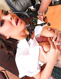 Schoolgirl gets big cock fuck