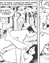 Erotic sex outdoors in comic