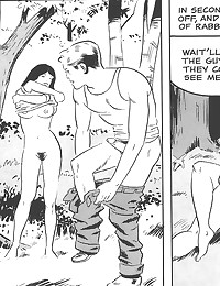 Erotic sex outdoors in comic