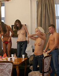 Drunk girls lose control at the party
