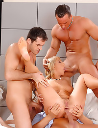 Elegant girl and three men