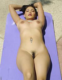 Asian bikini babe outdoors