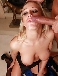 Big Titted Cougar Gets Sticky Facial