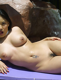 Bikini striptease outdoors