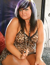 Leopard lingerie on BBW