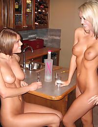Foxy Jacky - Two wild naked teens drinking shots naked