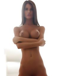Big tits shaved brunette babe