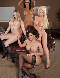 Four gorgeous women and him