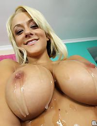 Cum drenched big tits