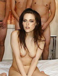 See how naughty Kristen Sewart gats naked and fucking with many guys!