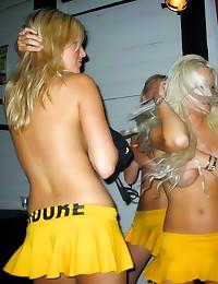 Drunken party girls flash tit...