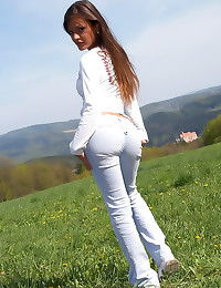 Sexy hot girl in the grass
