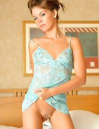 Solo skinny girl in lingerie