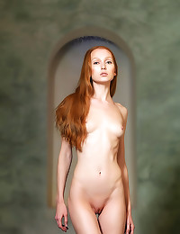 Skinny redhead wet and solo