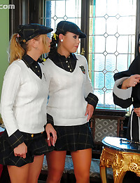 Schoolgirls use a sub