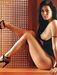 If Lucy Liu not posing naked... then she is posing half-naked!
