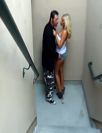 Sex in a public stairwell