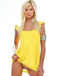 Hot blonde teen in dress