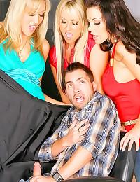 Clothed ladies pleasure his dick