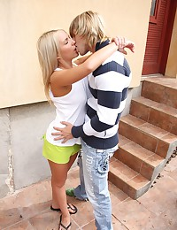 Cute lil blonde teen fucks a lucky guy behind a building