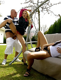 Two girls in a hot pissing and fucking threesome on the lawn
