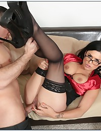 Horny Bookworm Swallows Gooey Jizz