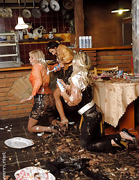 Fully clothed food fight