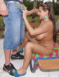 Sexy Brunette Tit Fucks Big Dick