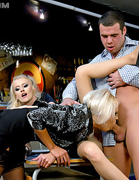Two horny blonde girls in a threesome with the bartender